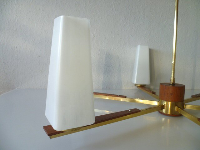 exklusive deckenlampe lampe leuchte teakholz teak messing ceiling lamp 60er 60s ebay. Black Bedroom Furniture Sets. Home Design Ideas