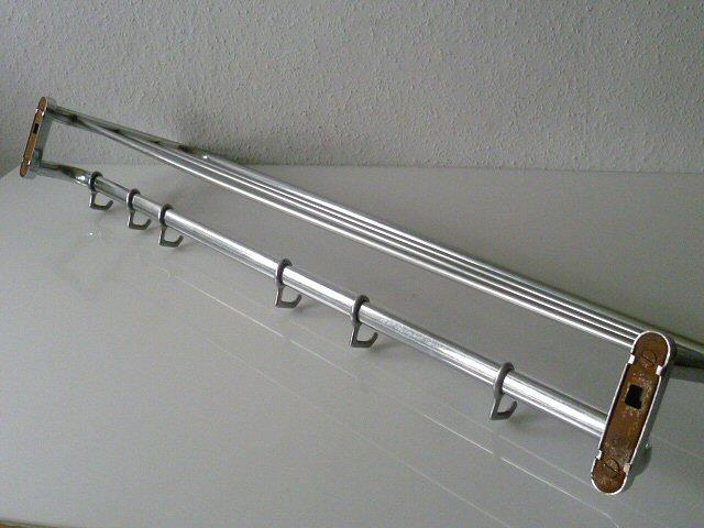 garderobe hutablage haken aluminium eisen silber bauhaus 50er 60er ebay. Black Bedroom Furniture Sets. Home Design Ideas