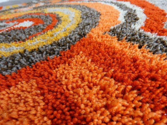 original 70er teppich hochflor 150 x 90 cm psychedelisch orange braun space age ebay. Black Bedroom Furniture Sets. Home Design Ideas