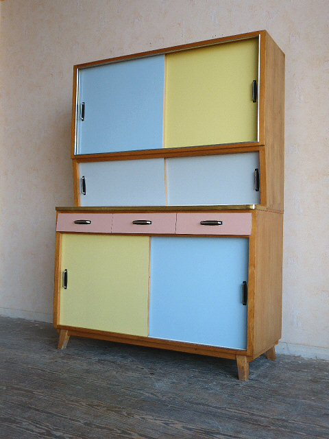 k chenbuffet k chenschrank k che pastell bunt blau gelb rosa grau 50er 60er ebay. Black Bedroom Furniture Sets. Home Design Ideas