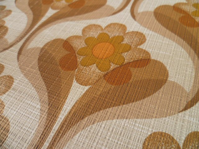 tapete original 70er ocker nougat foral blumen graphisch. Black Bedroom Furniture Sets. Home Design Ideas