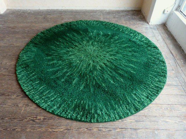 Teppich rund grün  Kultiger Hochflor Teppich rund BERGOSS 225 cm grün 60er 70er Space ...