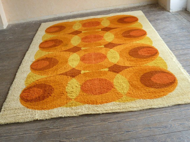 Original 70er Teppich Hochflor Bergoss OpArt orange 200 x
