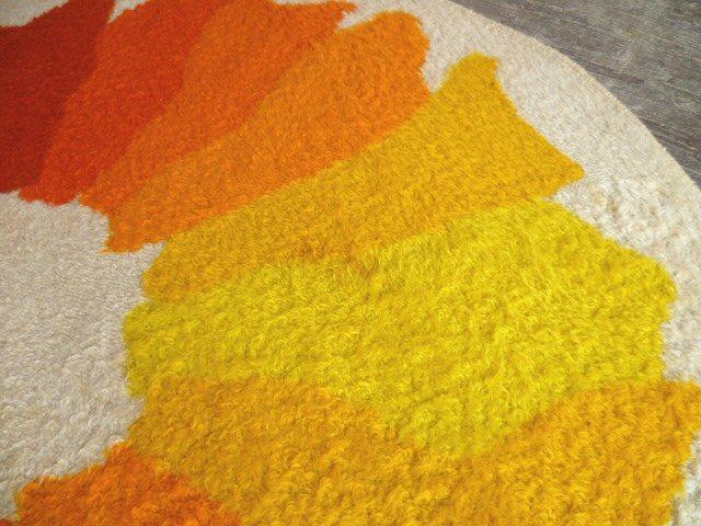 Kultiger Teppich rund gelb orange 60er 70er Space Age