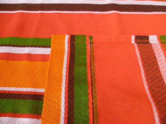 vorhang vorh nge gardine streifen orange gr n braun 70er. Black Bedroom Furniture Sets. Home Design Ideas