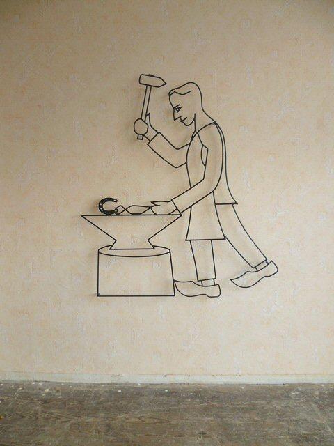 wanddeko hausschmuck hausrelief bild drahtbild skulptur eisen, Garten ideen